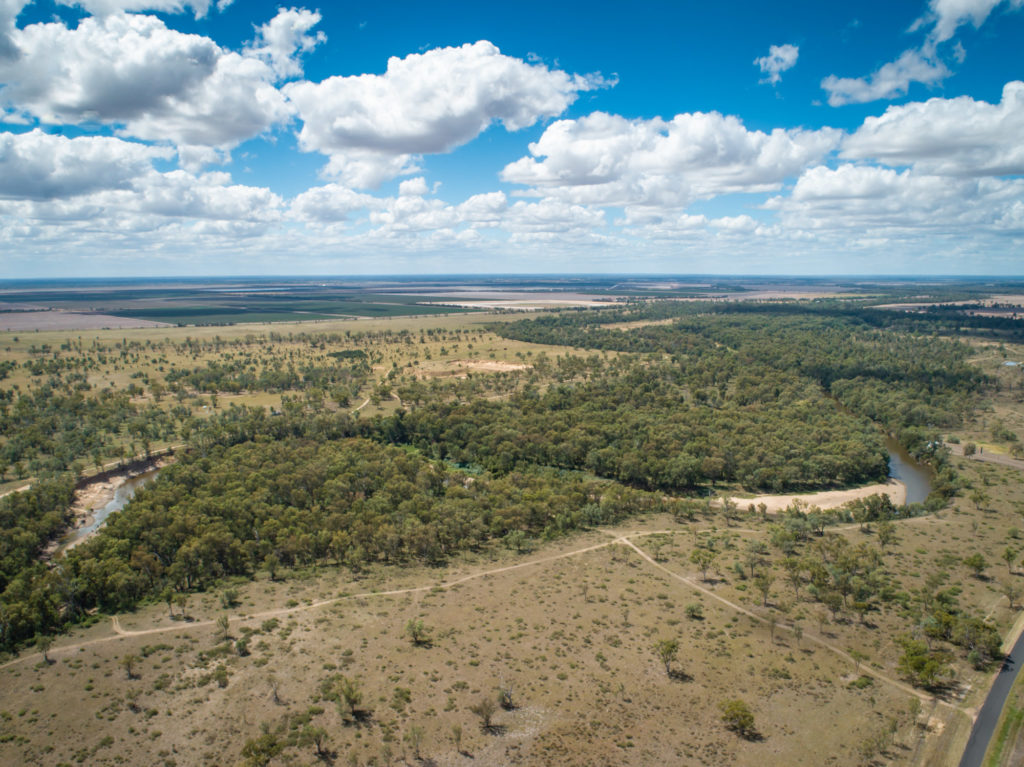 Aerial view of Greenfield study area, Macintyre River near Boggabilla, New South Wales.