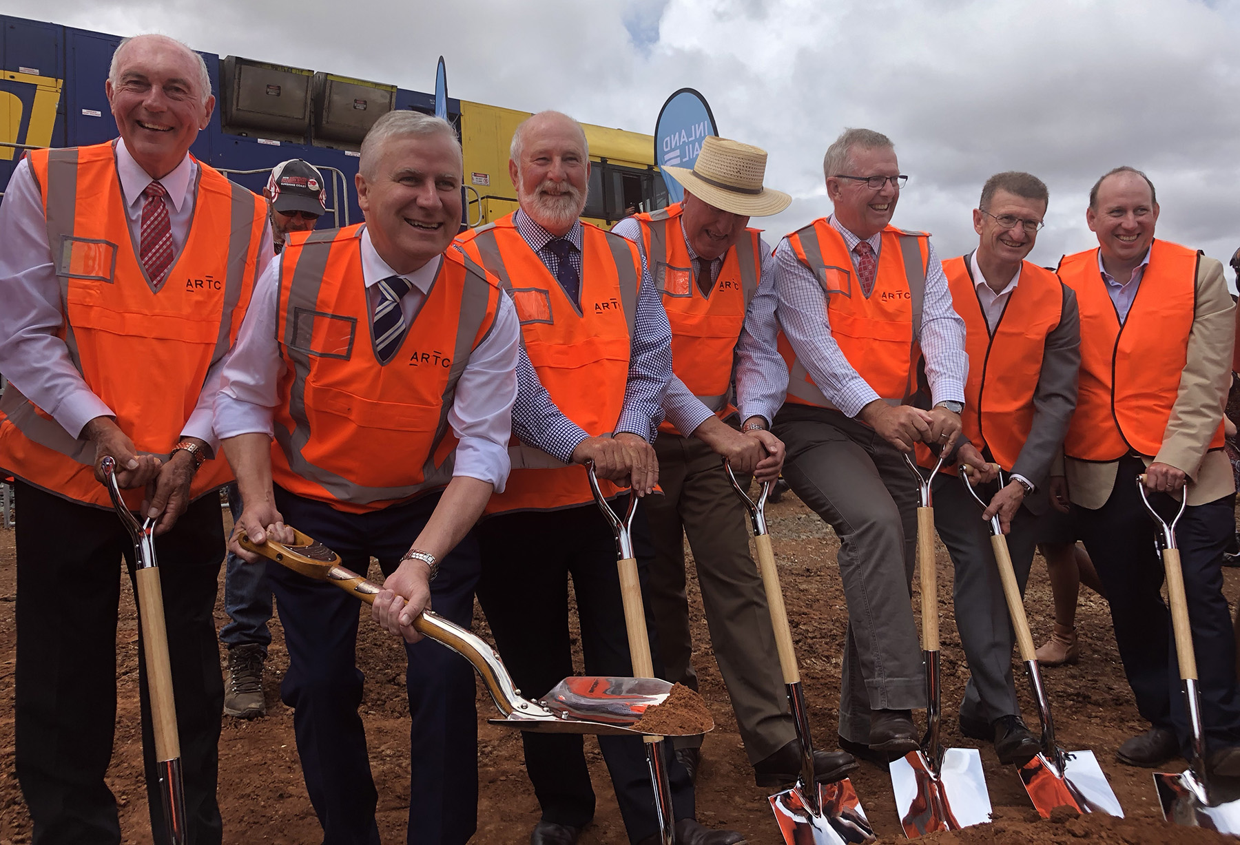 Inland Rail sod turn for the Parkes to Narromine project.