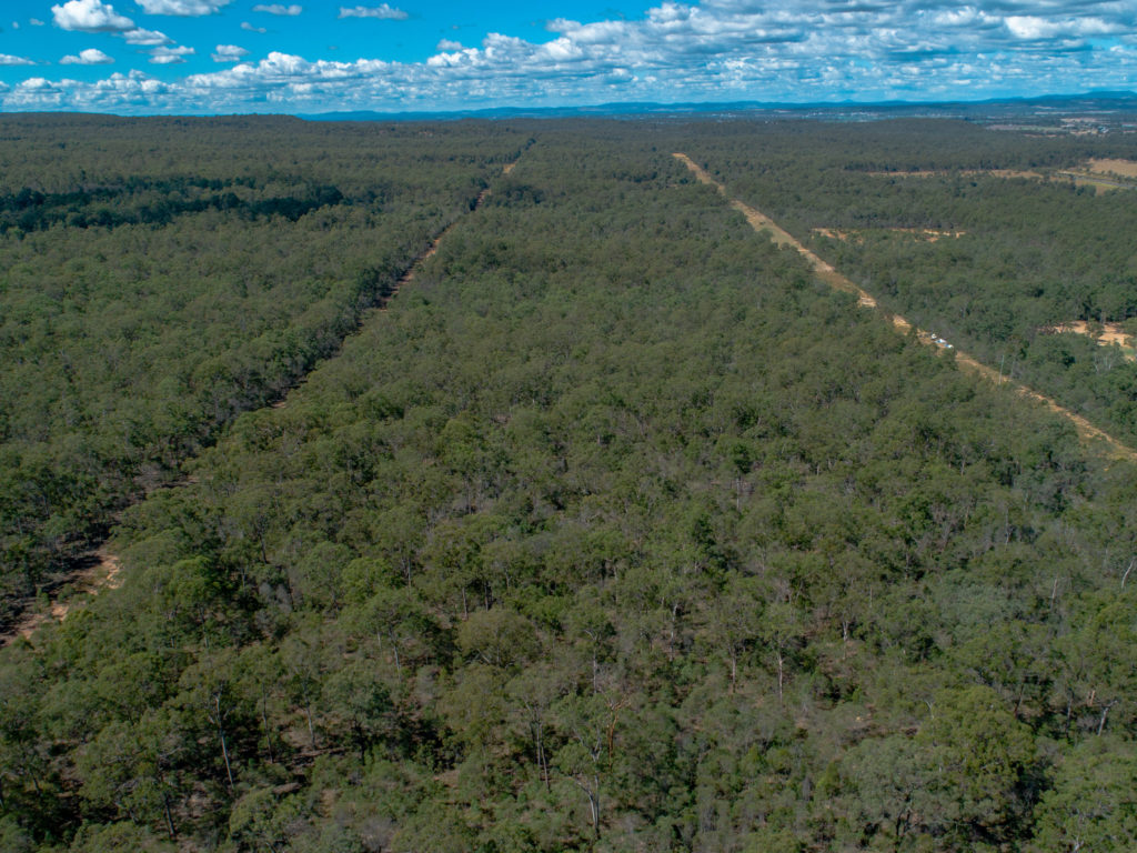Aerial view of Seventeen Mile Road gas line reserve, Helidon, Queensland.