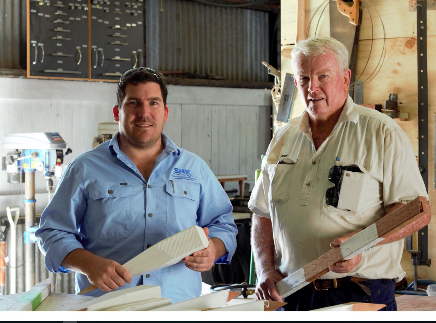 SMK and Goondiwindi Men's Shed representatives working together to supply to Inland Rail