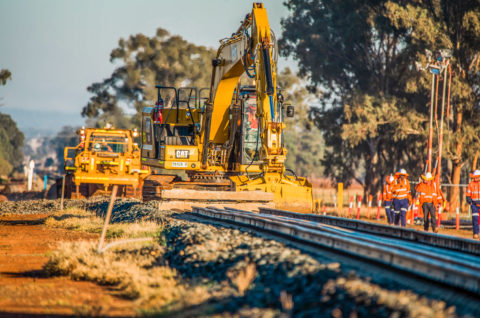 Installation of the tie in on the Broken Hill line