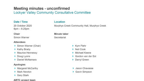 Lockyer Valley CCC Meeting Minutes - 20 Oct 2020