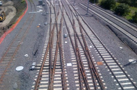 Aerial photo of a Rail turnout