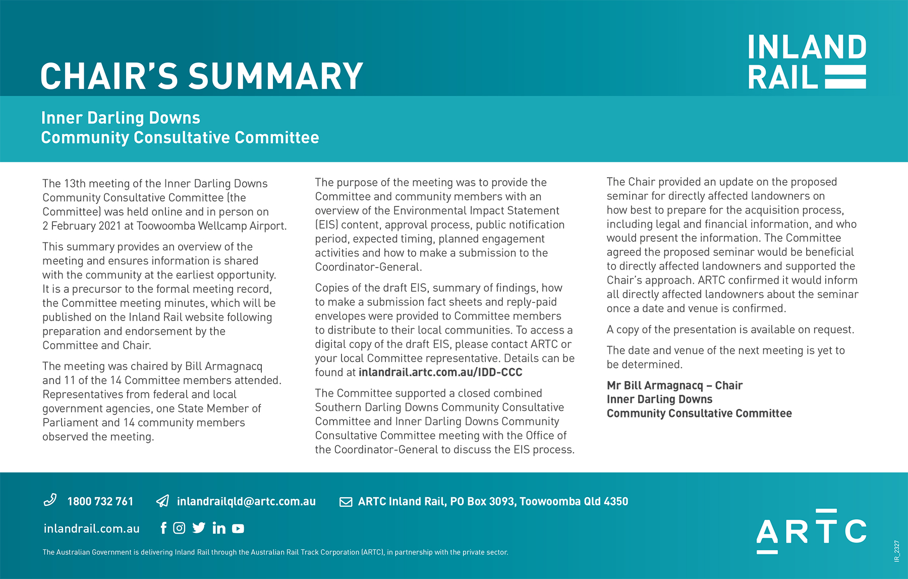 Chair Summary Inner Darling Downs - Community Consultative Commi