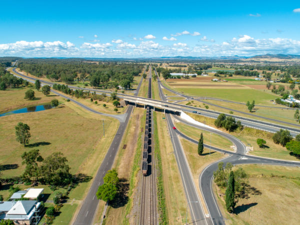 Aerial view of existing rail line at Helidon