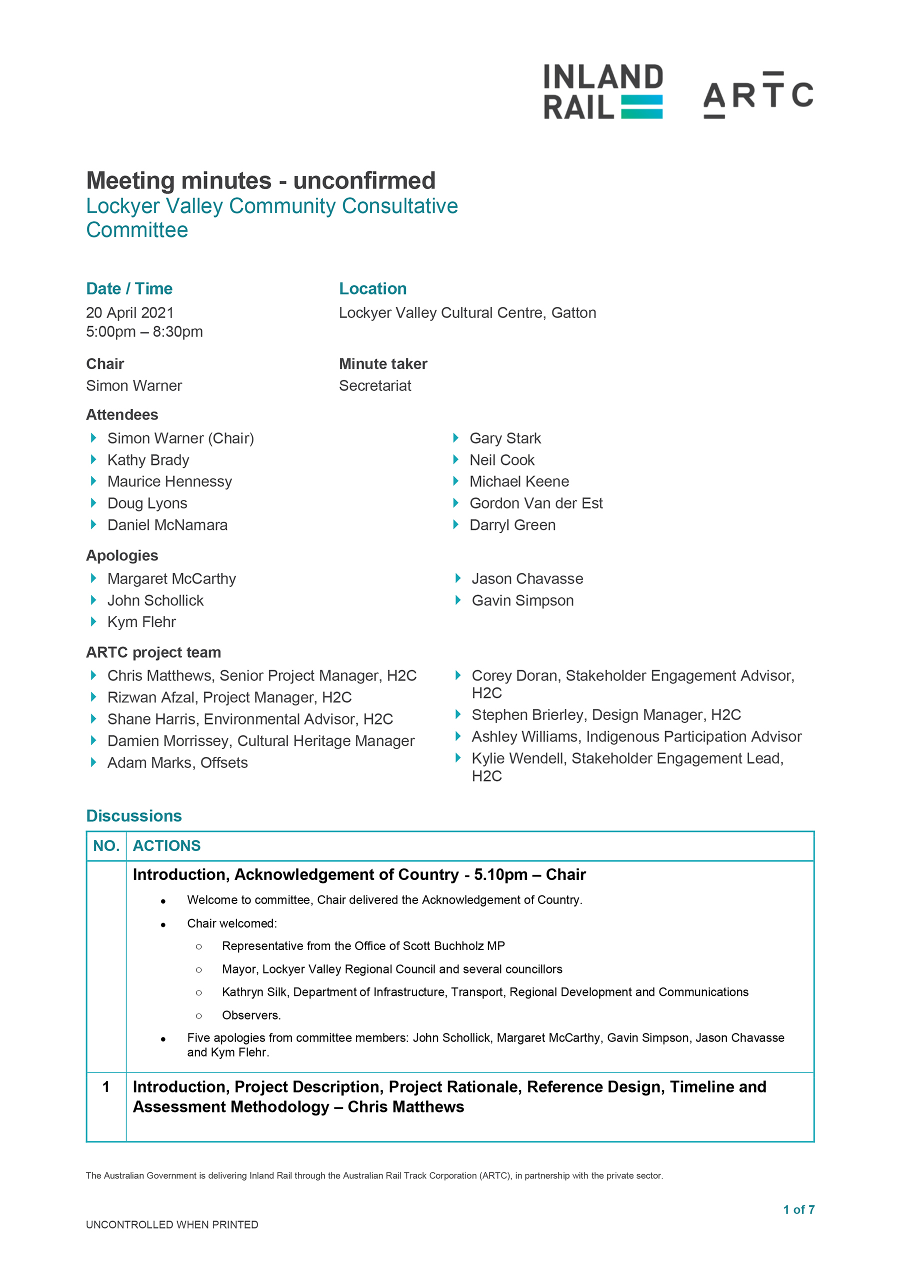 Lockyer Valley CCC Meeting Minutes 20 April 2021