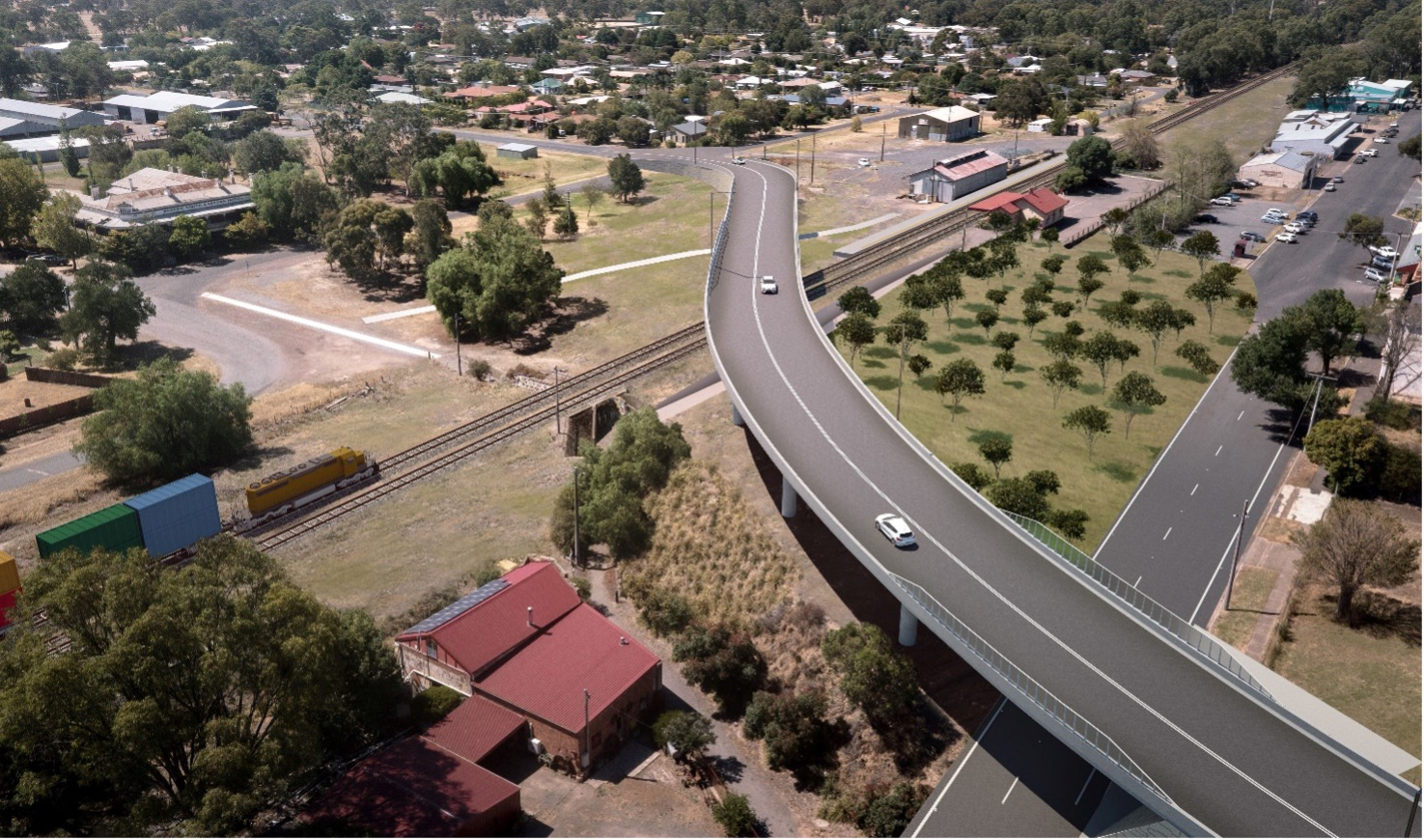 Visualisations of what a new overpass could look like at Euroa