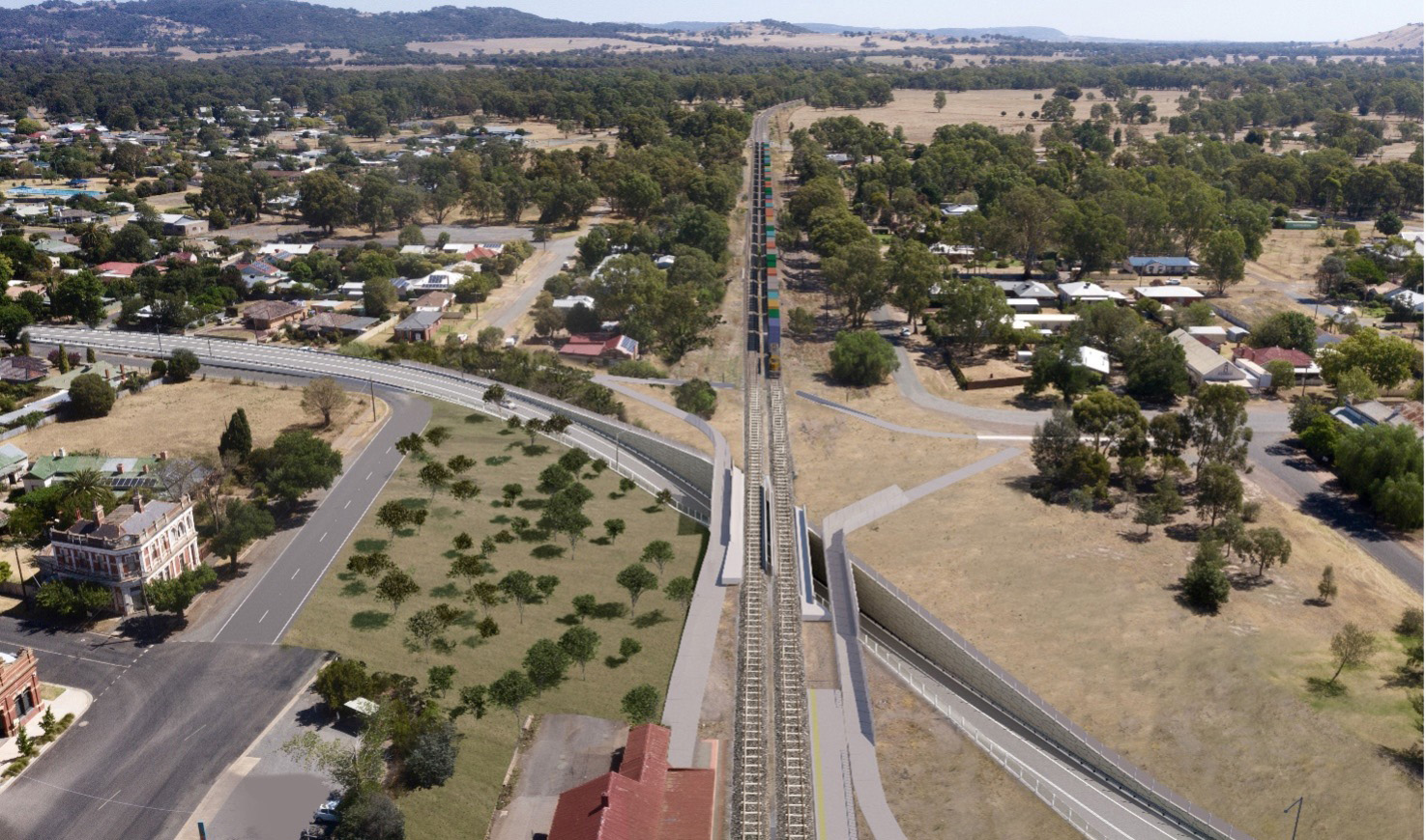 Visualisations of what a heavy vehicle underpass could look like at Euroa